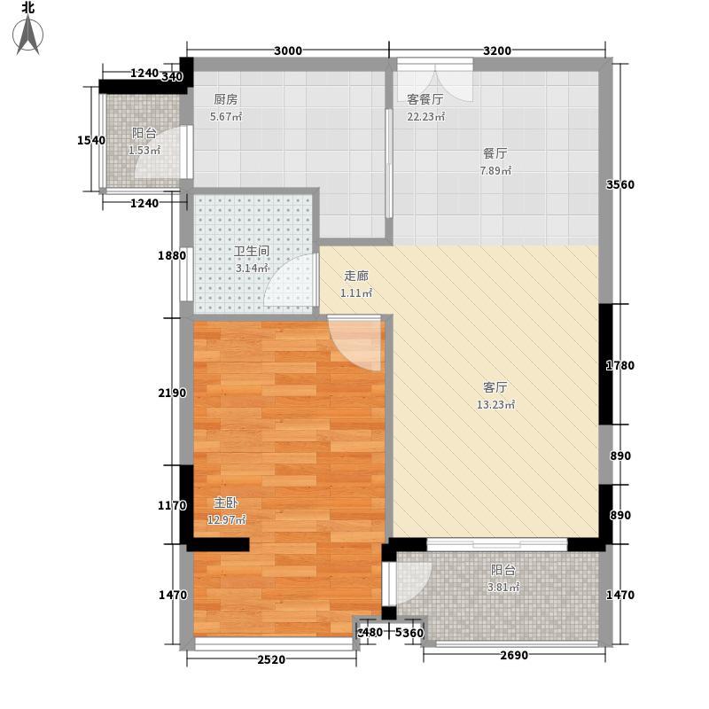大世纪花园三期户型图4单元奇数层09# 1室2厅1卫1厨