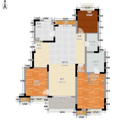 万科金域广场3室0厅2卫1厨140.00㎡户型图