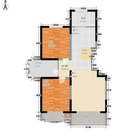 江南新城美墅邻2室0厅1卫1厨125.00㎡户型图