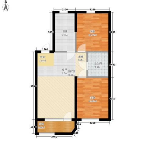 泰荣湾2室0厅1卫1厨92.00㎡户型图
