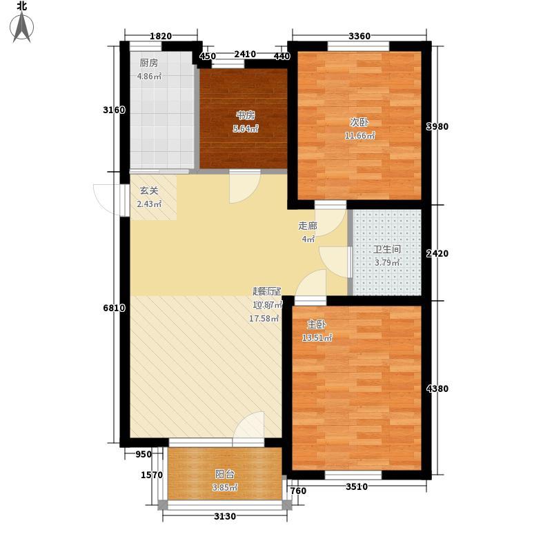 泰荣湾98.00㎡泰荣湾户型图小高层优享户型三室二厅一卫98㎡3室2厅1卫1厨户型3室2厅1卫1厨