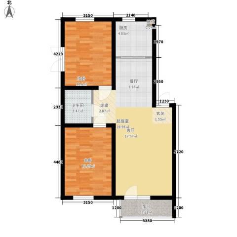 泰荣湾2室0厅1卫1厨87.00㎡户型图