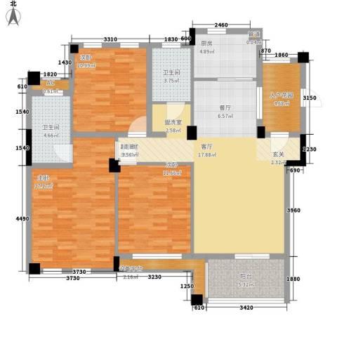 佳华世纪新城3室0厅2卫1厨140.00㎡户型图