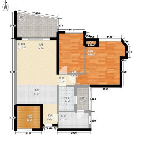 广州雅居乐花园一尺山居2室0厅1卫1厨78.00㎡户型图
