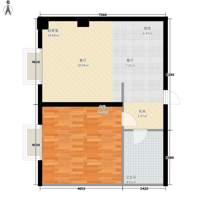 房山1号广场66.00㎡C户型1室1厅1卫1厨