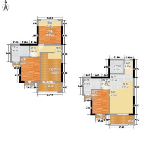 星御翠园3室0厅2卫1厨91.12㎡户型图