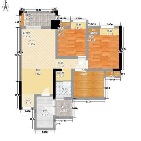 仁美大源印象3室0厅1卫1厨88.00㎡户型图