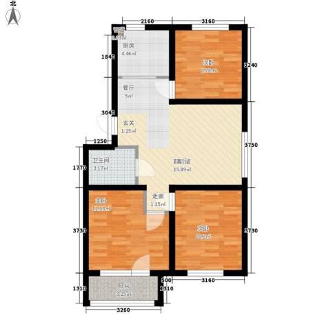 泰荣湾3室0厅1卫1厨87.00㎡户型图