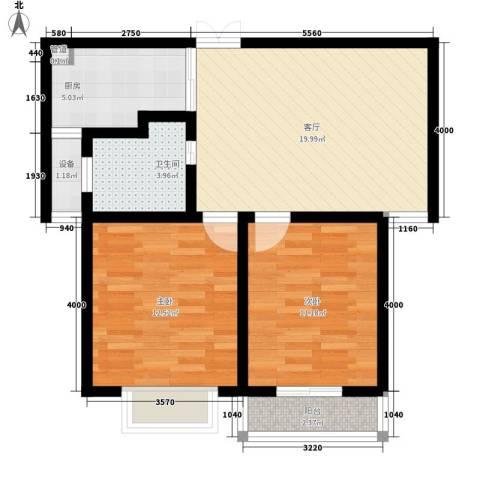 荣民国际公寓2室1厅1卫1厨66.00㎡户型图