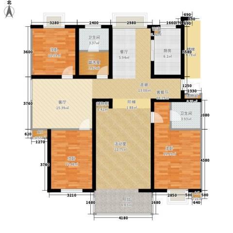 西航花园3室1厅2卫1厨150.00㎡户型图