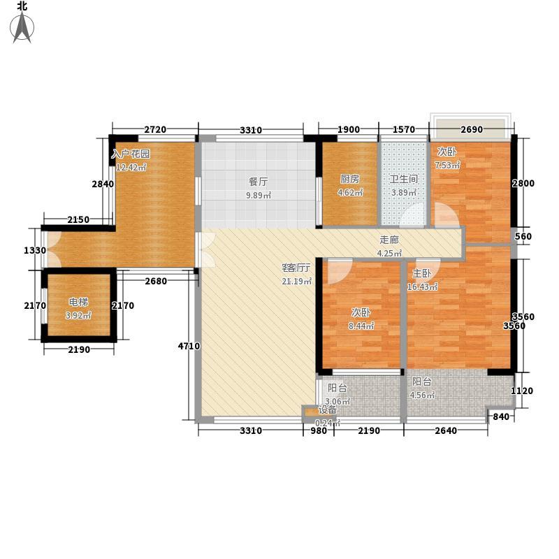 大世纪花园三期户型图2单元奇数层03# 3室2厅2卫1厨