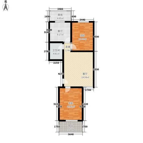 红全佳苑2室2厅1卫1厨91.00㎡户型图