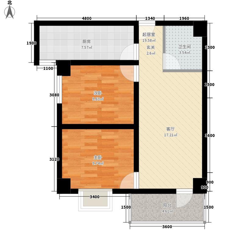 金泽玫瑰园80.86㎡01户型1室1厅1卫1厨