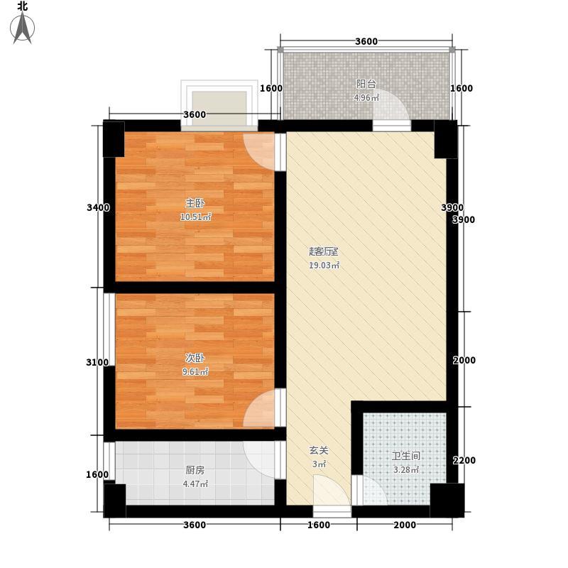 金泽玫瑰园80.98㎡04户型2室1厅1卫1厨