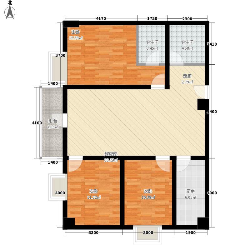 金泽玫瑰园128.76㎡07户型3室2厅2卫1厨
