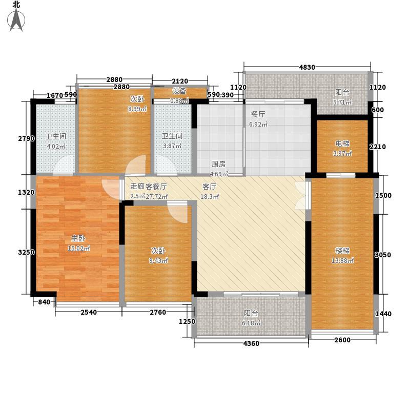 大世纪花园三期户型图1单元奇数层01# 3室2厅2卫1厨
