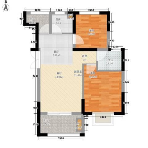 鼎湖尚悦峰景2室0厅1卫1厨59.00㎡户型图