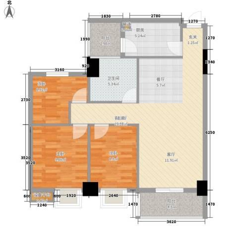 凯旋郡御景豪庭3室1厅1卫1厨103.00㎡户型图