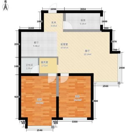盈胜毓园2室0厅1卫1厨91.00㎡户型图