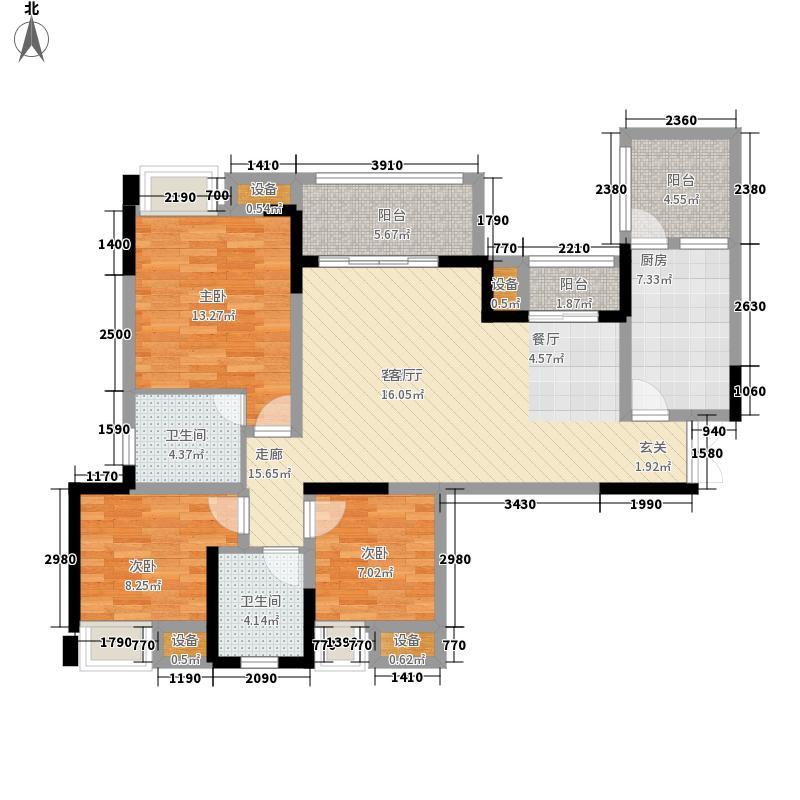 丽都锦城112.93㎡四期14号楼标准层G2/5号房户型