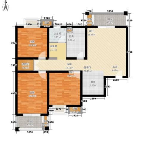 安粮双景佳苑3室1厅1卫1厨123.00㎡户型图