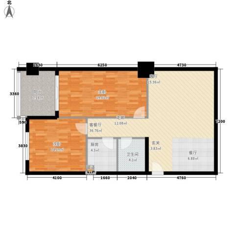 安粮双景佳苑2室1厅1卫1厨99.00㎡户型图