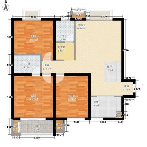 安粮双景佳苑3室1厅2卫1厨123.00㎡户型图