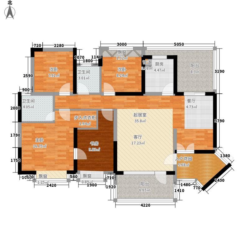 绿景公馆1866户型图北区D座2单元 D E户型 4室2厅2卫1厨