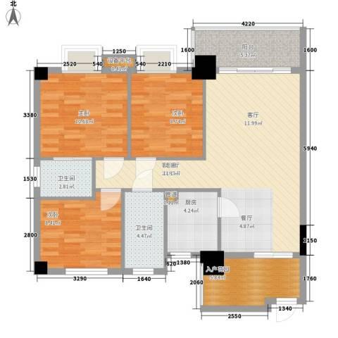 凯旋郡御景豪庭3室1厅2卫1厨113.00㎡户型图