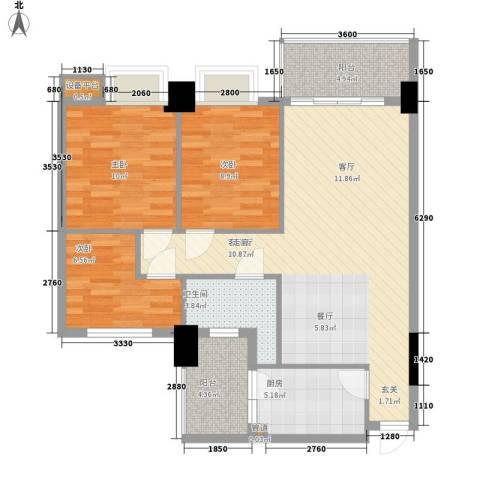 凯旋郡御景豪庭3室1厅1卫1厨106.00㎡户型图