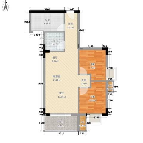 滨江绿园2室0厅1卫1厨67.00㎡户型图