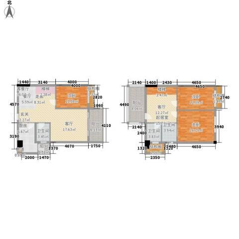 凯旋郡御景豪庭3室1厅3卫1厨184.00㎡户型图