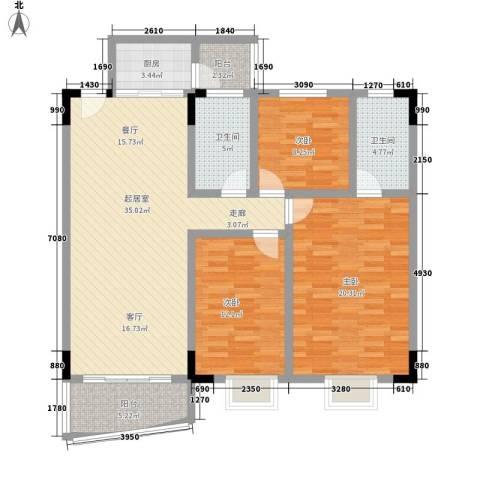 滨江绿园3室0厅2卫1厨111.00㎡户型图
