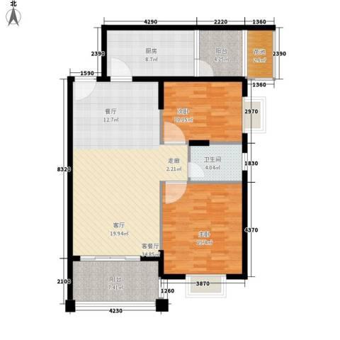 尚贤坊2室1厅1卫1厨96.00㎡户型图