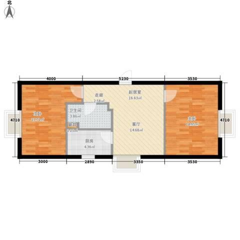 万达广场2室0厅1卫1厨60.00㎡户型图