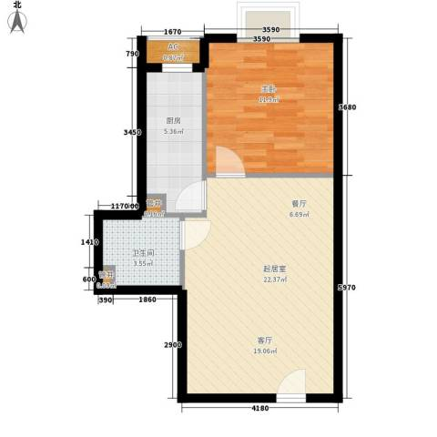 万达广场1室0厅1卫1厨50.00㎡户型图