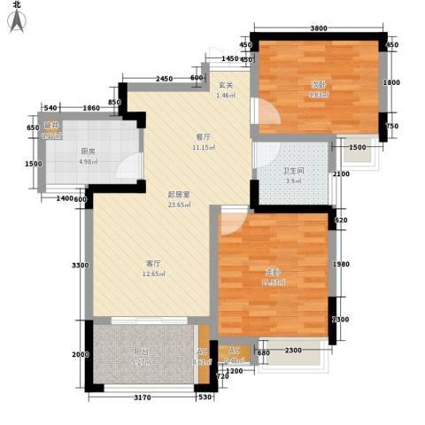 御景城2室0厅1卫1厨82.00㎡户型图