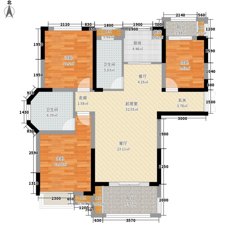 御景城120.34㎡御景城户型图B1户型3室2厅2卫1厨户型3室2厅2卫1厨