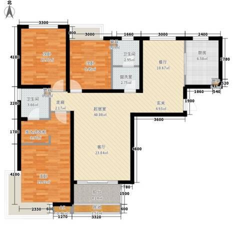 万达广场3室0厅2卫1厨132.00㎡户型图
