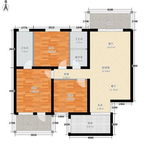 汇统花园3室0厅2卫1厨120.00㎡户型图