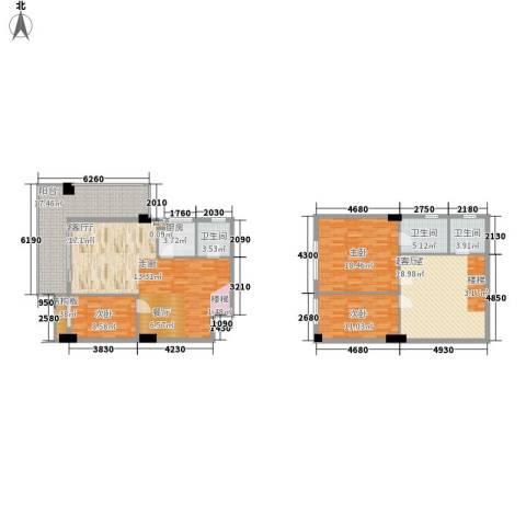 凯旋郡御景豪庭3室1厅3卫1厨186.00㎡户型图