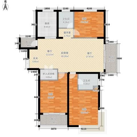 万达广场3室0厅2卫1厨144.00㎡户型图