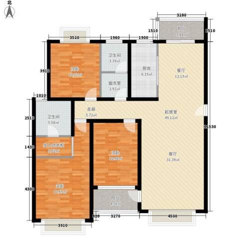 万达广场3室0厅2卫1厨138.00㎡户型图