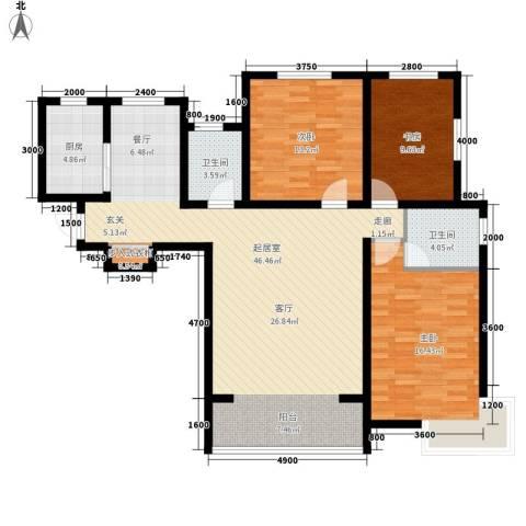 嘉福小区3室0厅2卫1厨140.00㎡户型图
