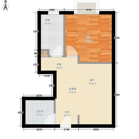 万达广场1室0厅1卫1厨45.00㎡户型图