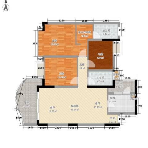 银泰新苑3室0厅2卫1厨117.00㎡户型图