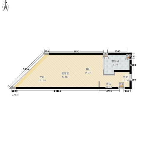 厚街万达广场1卫0厨56.00㎡户型图