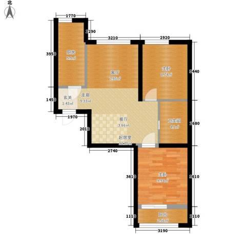 水岸荣华2室0厅1卫1厨77.00㎡户型图