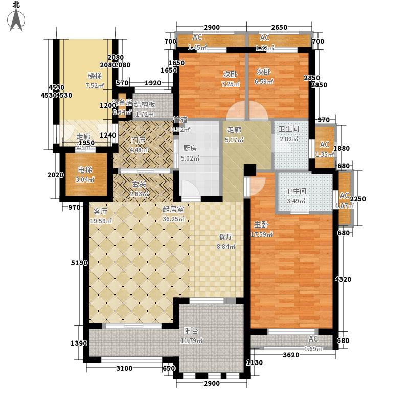 威尼斯水城136.00㎡十四街区花园洋房C1户型3室2厅2卫1厨