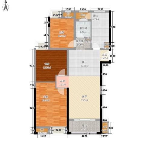 南京万达广场3室1厅1卫1厨117.00㎡户型图
